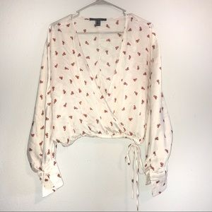 FOREVER 21 Crop blouse red white roses XL